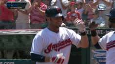 Raburn homers twice as Tribe pushes streak to eight