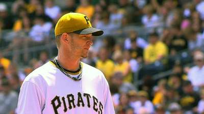 Complete Pirates effort on display behind Burnett