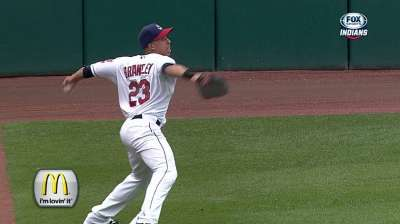 Brantley ranks among leaders in outfield assists