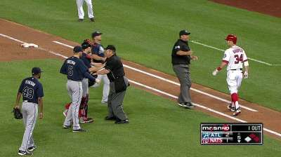 Benches clear in DC after Harper gets plunked