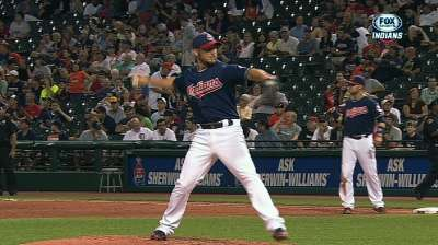 Raburn's relief stint offers comical moment for Tribe