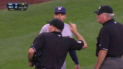 Roenicke ejected for arguing fan-interference call