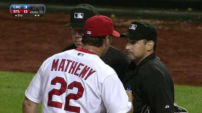 Descalso, Matheny ejected from Friday's loss