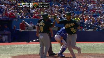 Not Gray's day in debut as starter; A's fall