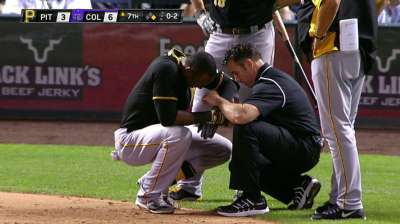Marte leaves game with injury; Alvarez shaken