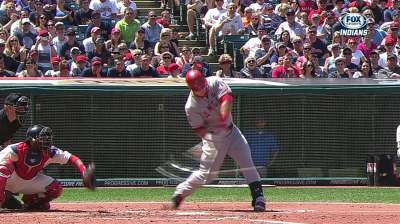 Trout reaches base as streak keeps growing