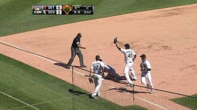 Ventura stands behind Ramirez's fielding