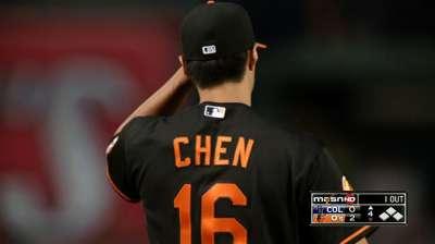 Chen falters late; Orioles lose fourth in a row