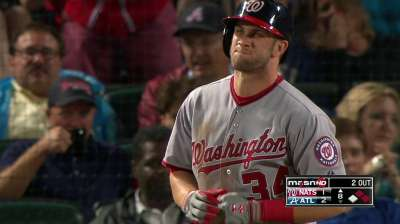 Warnings issued after Harper hit twice by Braves