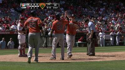 Dominguez makes Angels pay for intentional walk