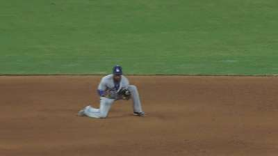 Hanley tries to drop liner, turn double play