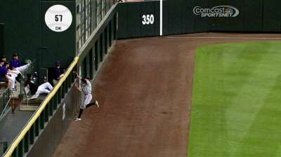 Pence fine after collision with outfield wall