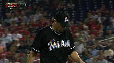 Eovaldi, Marlins held to Yelich homer in D.C.