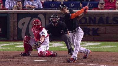 Marlins show offensive life, but 'pen falters in DC