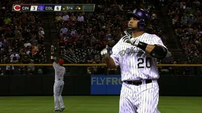Rosario giving Rox offense from behind plate