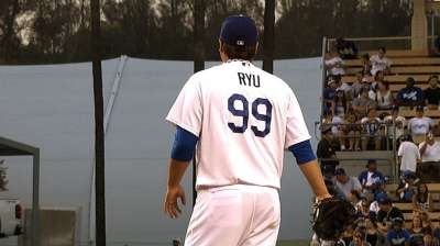 Ryu on track to return to mound Wednesday