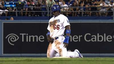 Puig's four hits, A-Gon's two homers lead LA