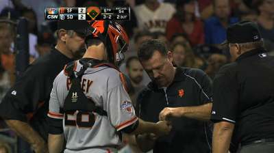 Bruised finger keeps Posey out vs. Padres