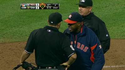 Porter ejected during victory vs. Athletics