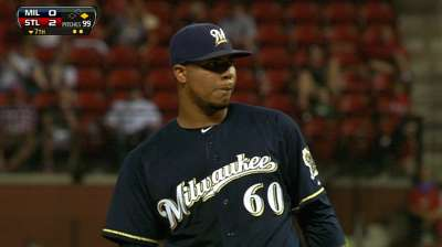 Brewers fall after Peralta takes no-hit bid into sixth