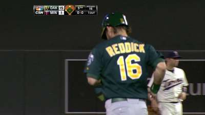 Reddick has home run overturned, awarded double