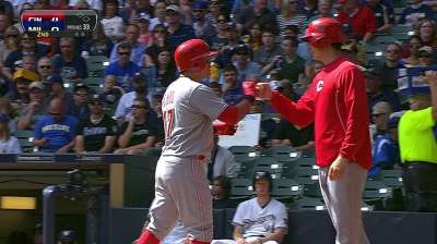 Choo, Votto power Reds past Brewers to even series