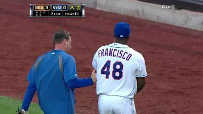Francisco takes liner off pinkie, suffers contusion