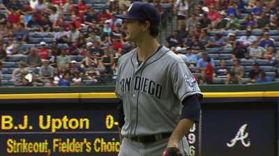 Smith flirts with no-no in Atlanta, earns first win