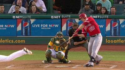 Trout's historic homer overshadowed in Oakland