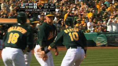 A's magic number at one after rout of Twins