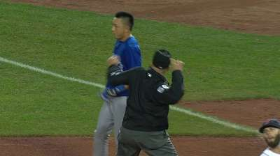 Kawasaki ejected for arguing call at first base