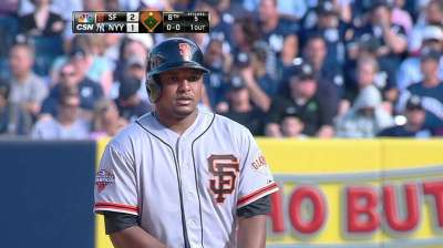Giants spoil Yanks' party to close trip with win