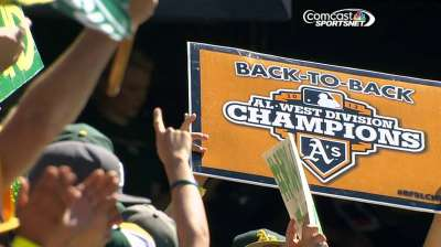 A's glad to share celebration with home fans