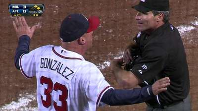 Fredi tossed after disputing hit-by-pitch call