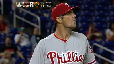 Hamels reaches one milestone, not two in Phils' loss