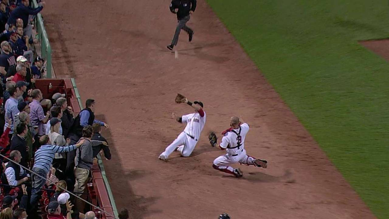 After collision in fifth, Ross, Middlebrooks exit