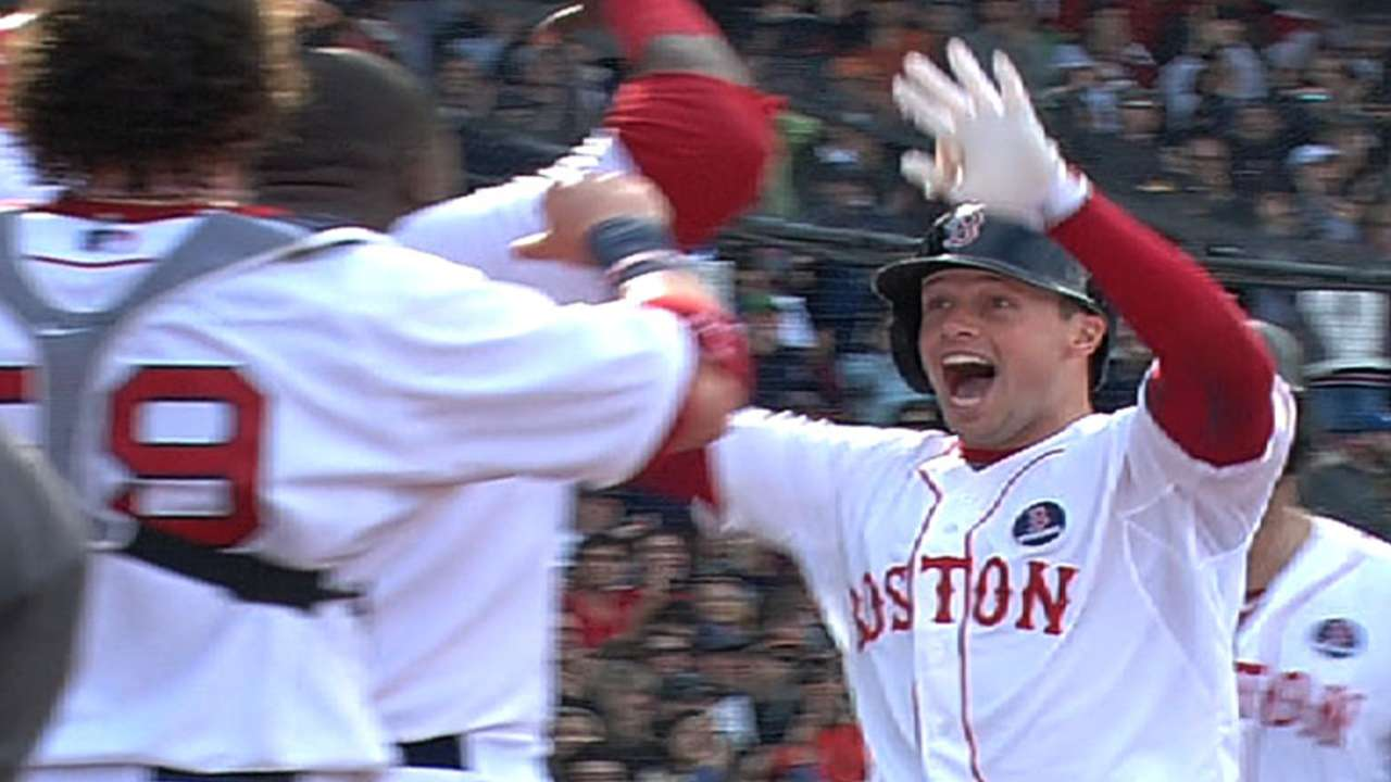 Civic duty: Nava dons hero hat for Sox