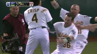 Crisp hits a walk off single
