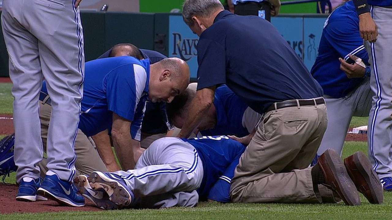 Happ hospitalized after being struck in head by liner