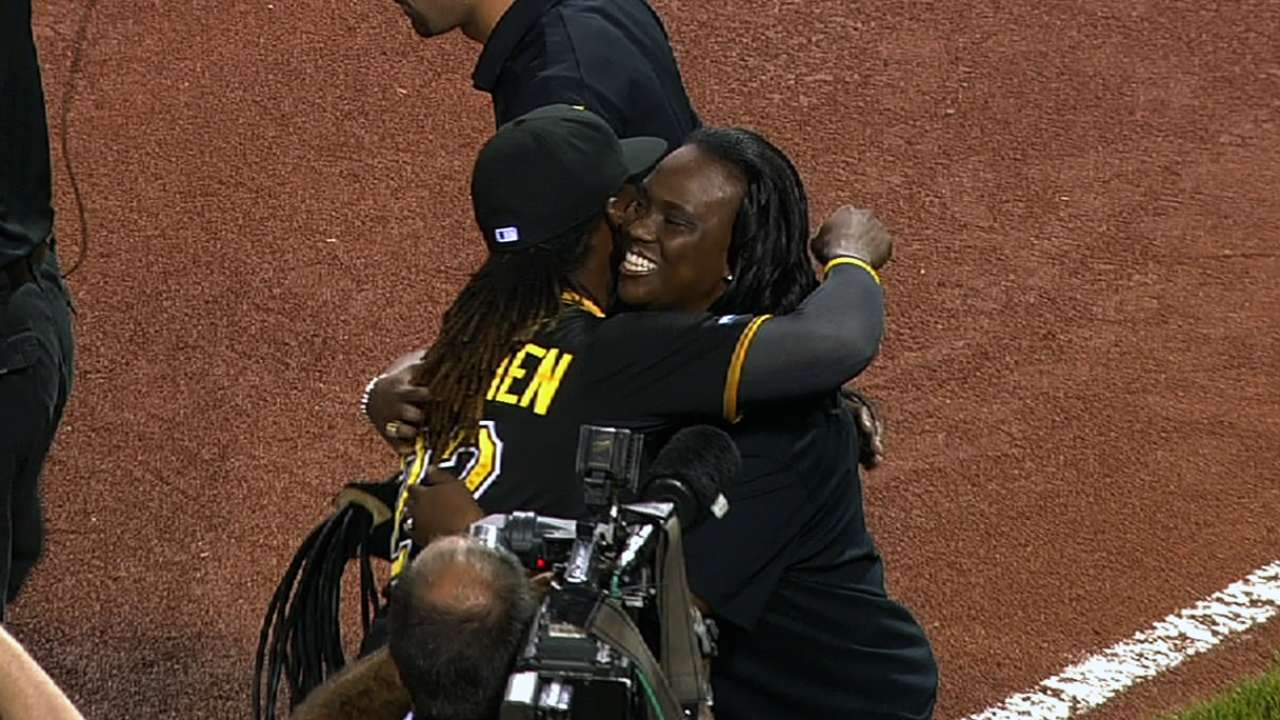 McCutchen's mom sings anthem