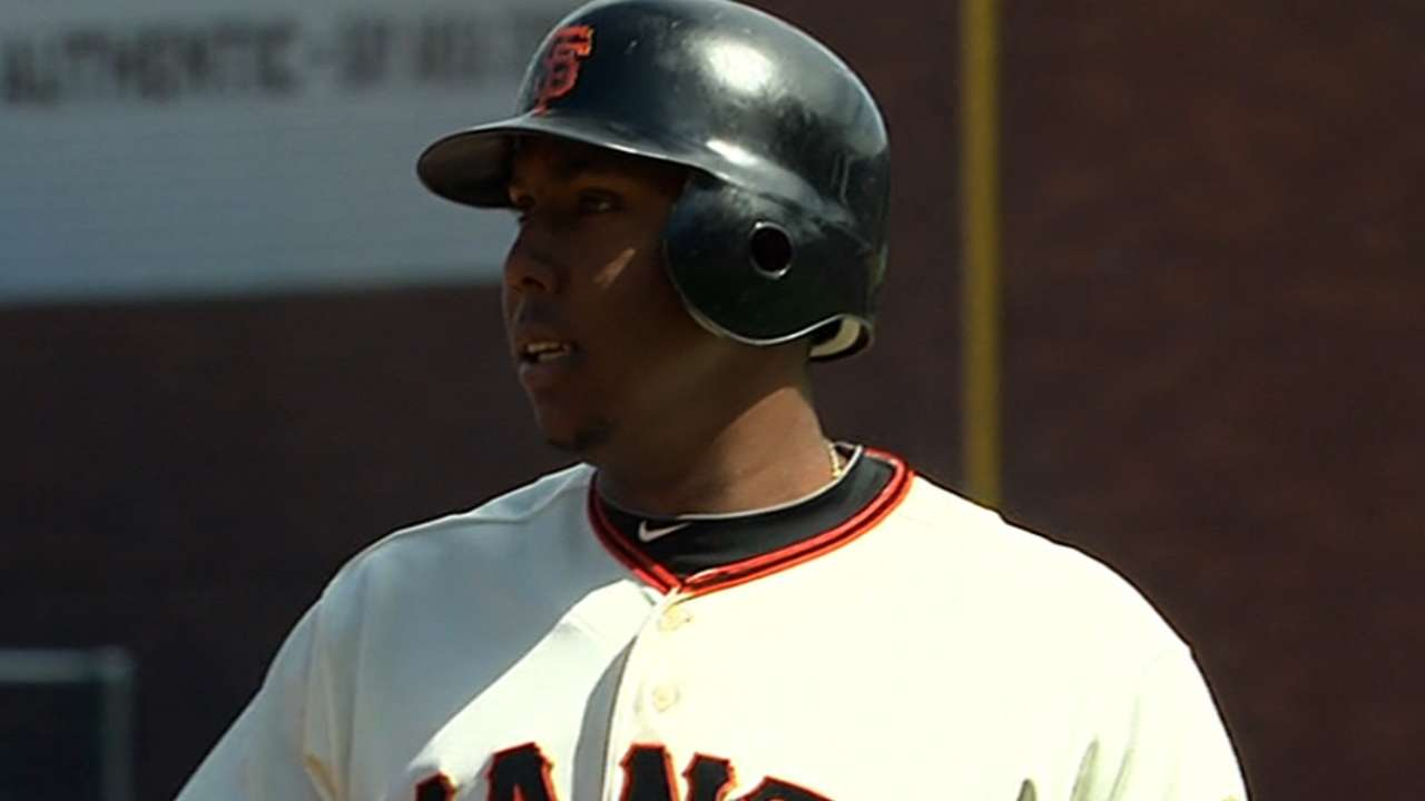 Peguero replaces Torres in Giants' lineup