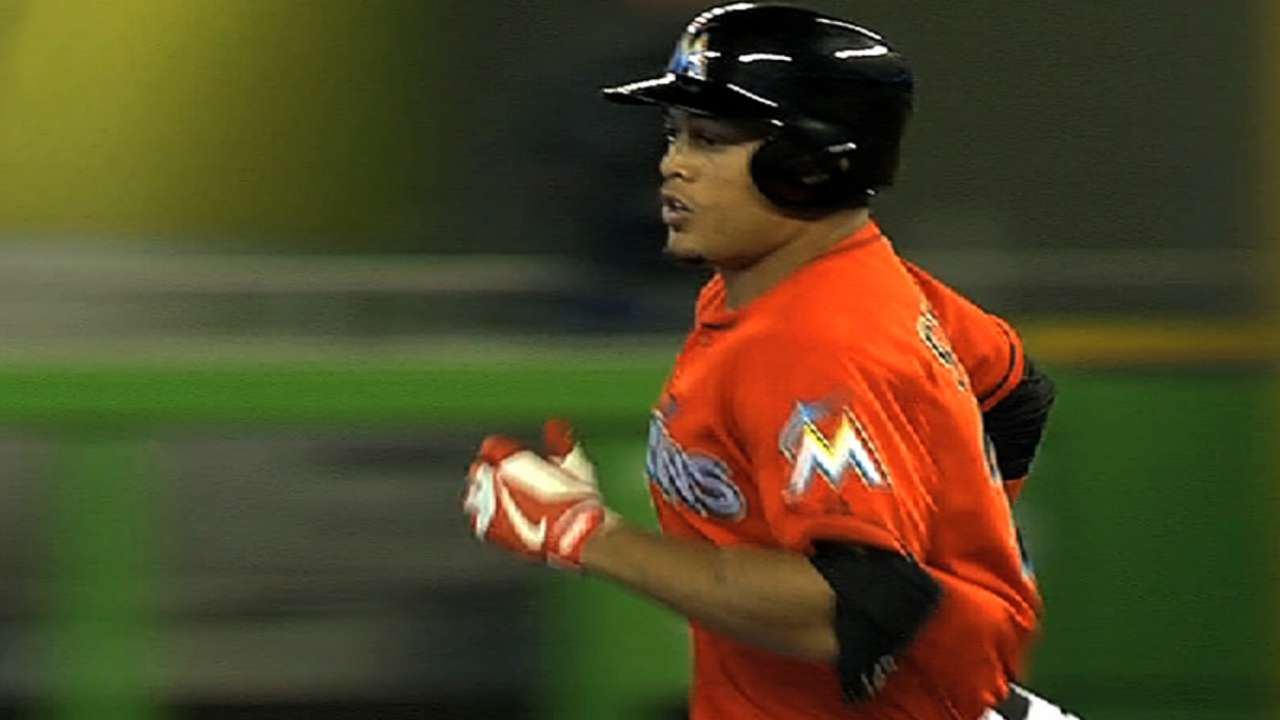 Stanton homers twice, Nolasco takes stand vs. Cubs