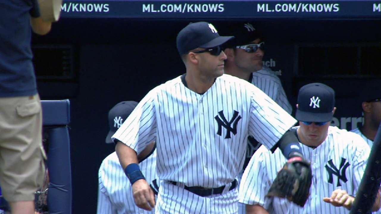 Jeter hits with authority during first BP session