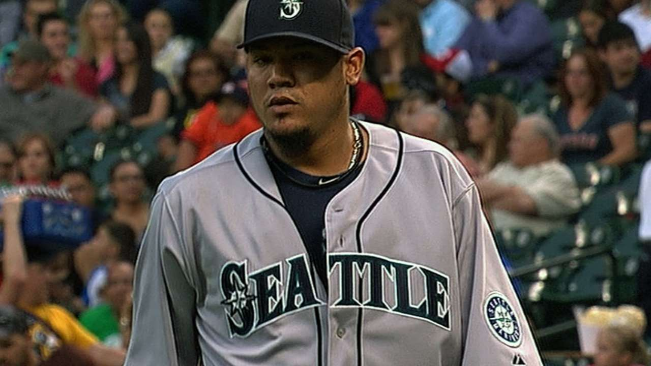 Felix dominates in 100th win as Seattle bats come alive