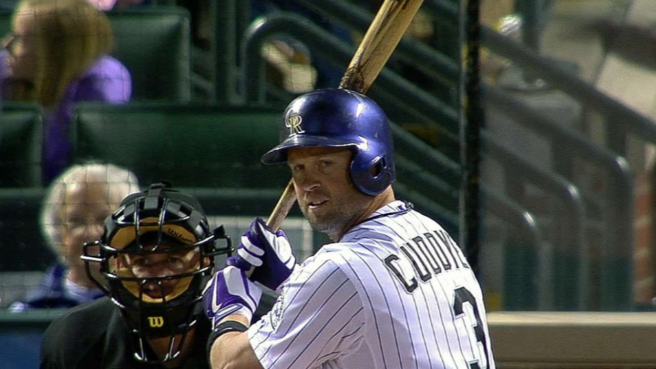 Cuddyer hit by pitch, but believes he's OK