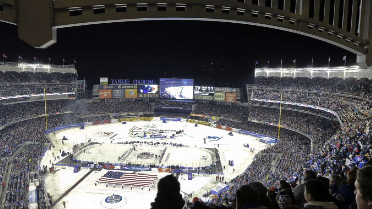 NY hockey rivalry takes stage at Yankee Stadium