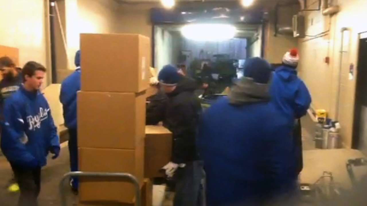 Snow bids Royals' equipment truck messy adieu