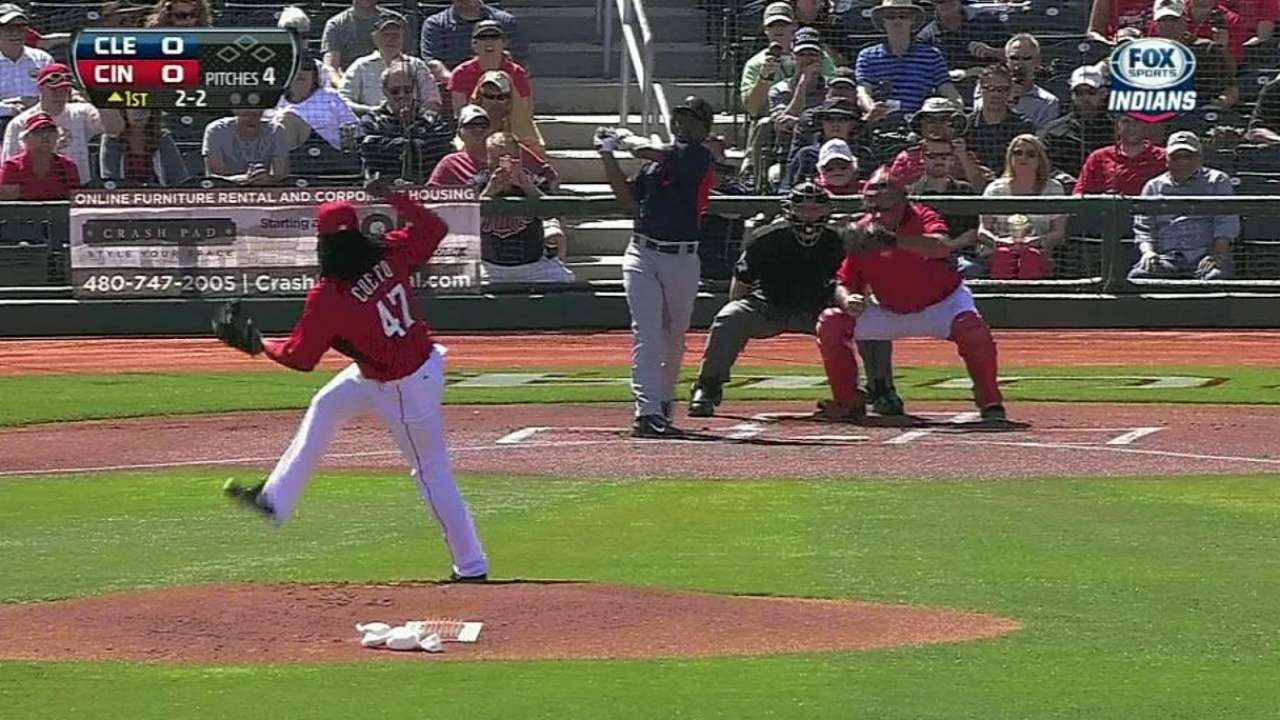 Cueto looks sharp in two innings in spring debut