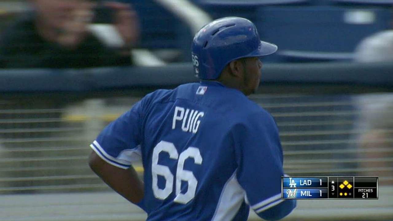 Puig remolca pero Dodgers caen con Cerveceros