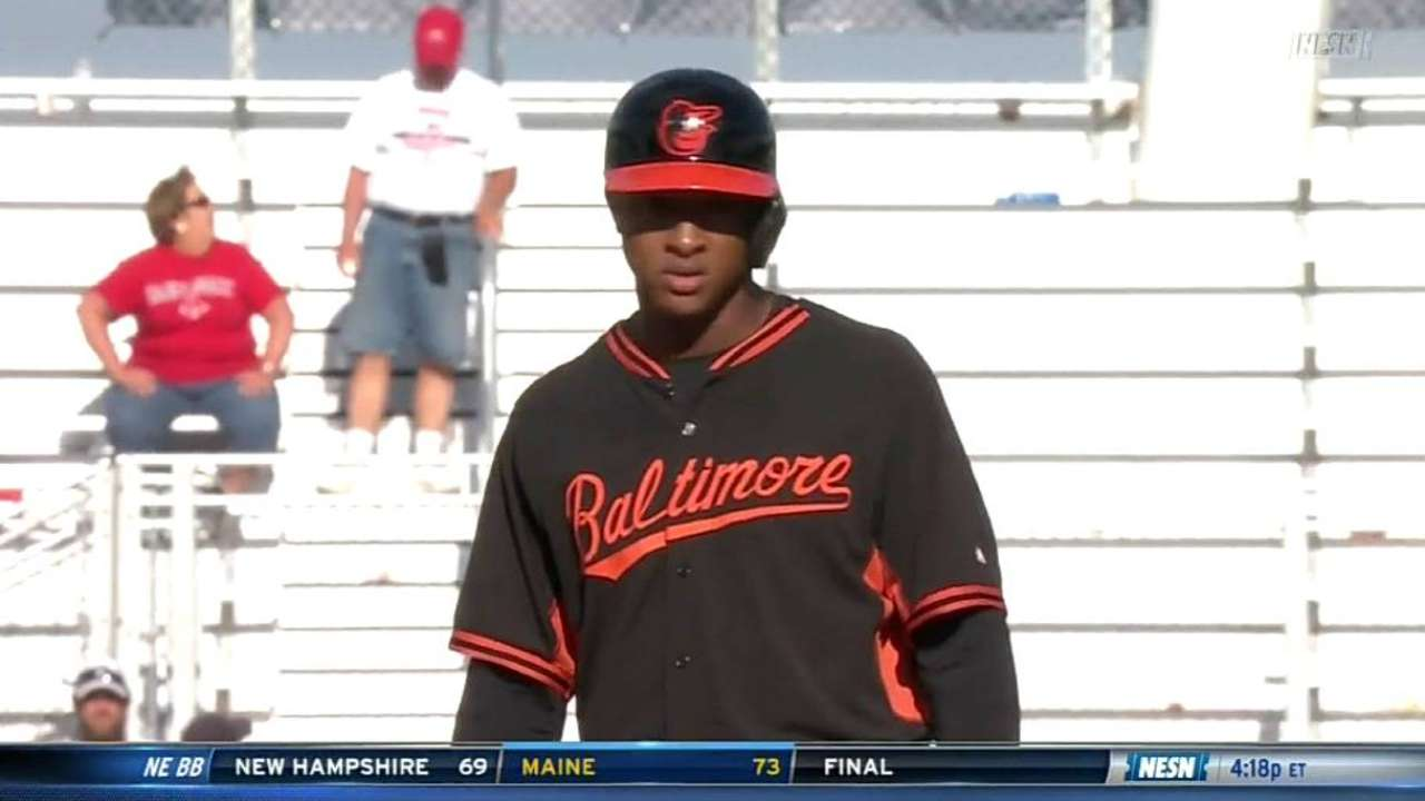 Schoop impressing on, off field at O's camp